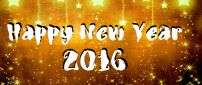 Golden wallpaper Happy New Year 2016 - stars on wall