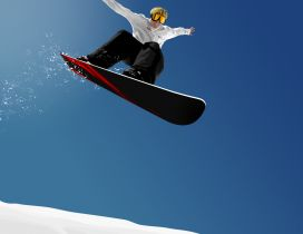 Perfect jump with snowboard - winter sport