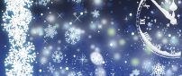 Cold night in the winter season - snowflakes on the wall