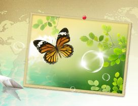 Orange butterfly in a spring painting - HD wallpaper