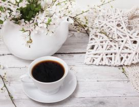 Spring flowers and a cup of coffee - special morning day