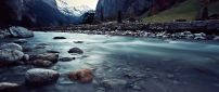 Mountain river near the road - HD wallpaper