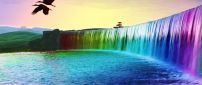 Wonderful 3D colourful waterfall - HD wallpaper