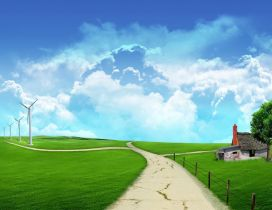 Digital art design - path through the green field of spring