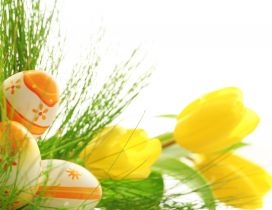 Yellow tulips and beautiful coloured egg - Happy Easter