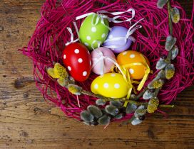 Purple basket with Easter eggs - Happy spring Holidays