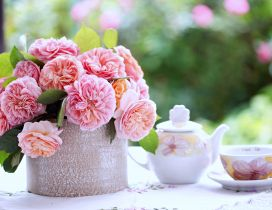 Good morning spring season - flowers and tea