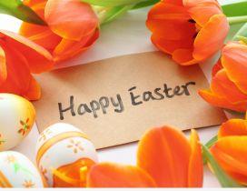 Happy Easter 2016 - orange tulips