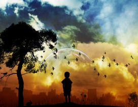 Child looking to the town at sunset - 3D wallpaper