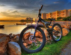 Walk with the bike - beautiful sunset landscape