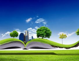 All nature in one book - 3D wallpaper