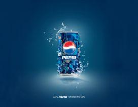 Enjoy Pepsi refreshes the world - blue juice drink