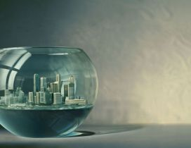 The city in a fish aquarium - HD creative wallpaper