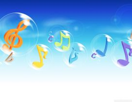 Music notes in the shampoo balloons - HD summer time
