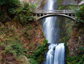 Waterfall under the bridge - HD wallpaper