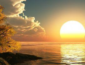 Big sunrise on the ocean - HD wallpaper