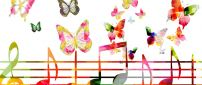 Musical notes and butterflies - HD color wallpaper