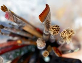 Make-up brushes - blurry HD wallpaper