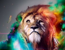 Digital art design - lion in photoshop