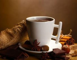 Drink a hot chocolate in the morning - HD wallpaper