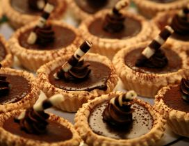Delicious tarts with chocolate and cacao