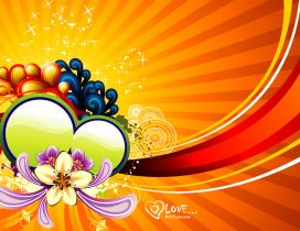 Orange vector design - heart and flowers