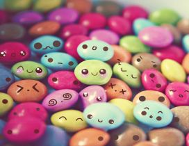 Colored chocolate candies - cute and funny faces