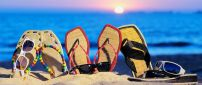 Beach slippers and sunglasses - Beautiful summer time