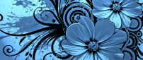 Vector wallpaper - blue flowers
