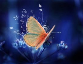 Wonderful orange butterfly on a beautiful flower -art design