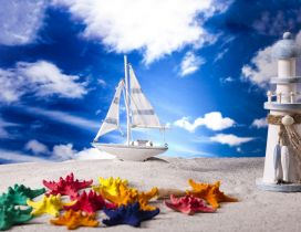 Colored starfishes white boat and a lighthouse