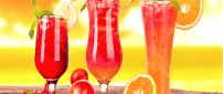 Three delicious fruit cocktails - summer drink