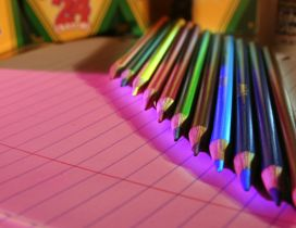 Pink light and color crayons - Back to school season