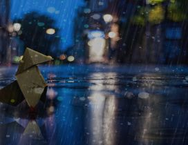Mascot in the rain at night - HD wallpaper