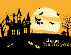 Happy Halloween - golden sky and scary night