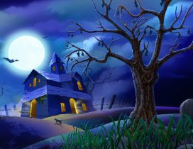 Blue scary night - Happy Halloween