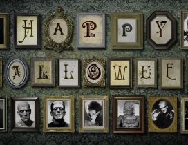 Happy Halloween - Pictures on the wall with monsters