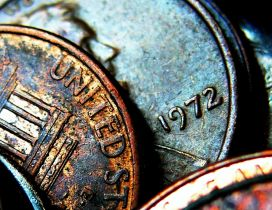 Macro old coins from United States of America
