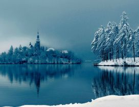 Church on a small island - Cold winter season
