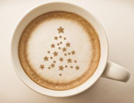 Sweet Christmas tree in a cup of coffee - Happy Holiday