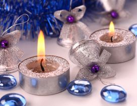 Silver Angels and candles - Blue Christmas Holiday