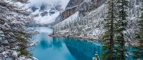 Wonderful blue mountain lake in the winter season