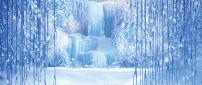 Frozen curtain - magic winter season