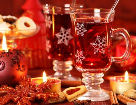 Hot tea in the magic night of Christmas - HD wallpaper