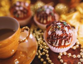 Delicious muffins and hot coffee for Santa Claus