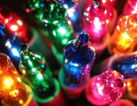 Macro colorful Christmas lights - Happy Winter Holiday
