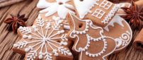 Ginger cookies in shape of tree, star and house