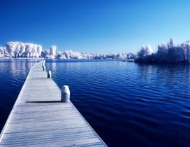 Wonderful blue lake in the cold winter season