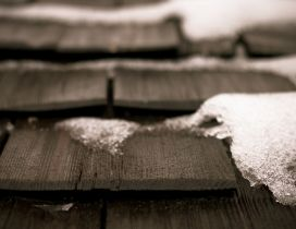 Snow on the wooden stairs - Macro HD wallpaper
