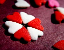 White and red sweet hearts - Chocolate on Valentines Day